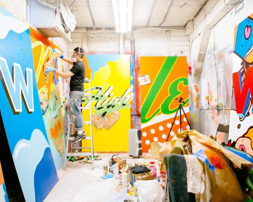 Vancouver based illustrator Carson Ting at work in his studio
