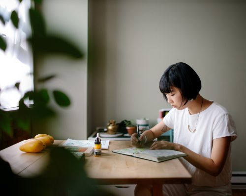 Artist Hanna Lee Joshi at work in her studio