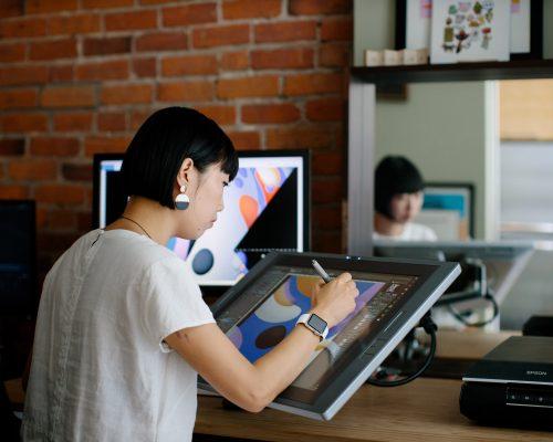 Artist Hanna Lee Joshi at work in her studio