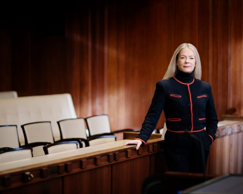 Vancouver city councillor Colleen Hardwick standing in the city council chamber