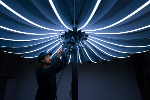 Interactive LED umbrella inspection by tangible interaction