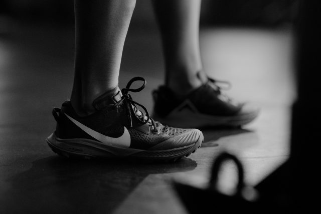 Women wearing Nike terra Kiger shoes in gym while working out